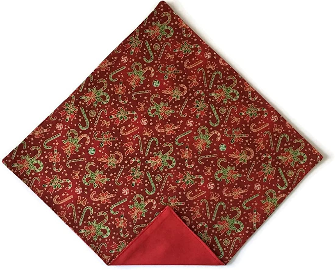 Holiday Bow Ties Mens Red Pocket Square Christmas Candy Canes with Gold Metallic