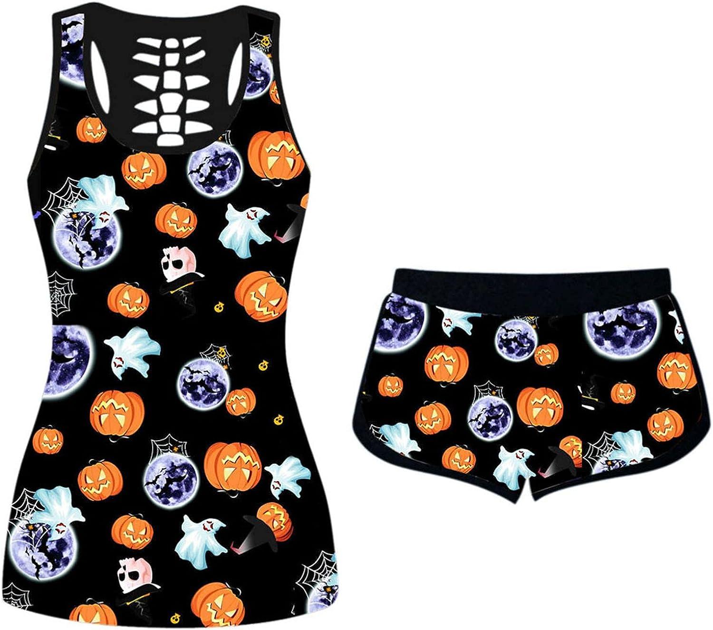 Women's Halloween Pajamas Set Pumpkin Print Sleeveless Tank Tops Elastic Waist Shorts 2PC Outfits Sleepwear