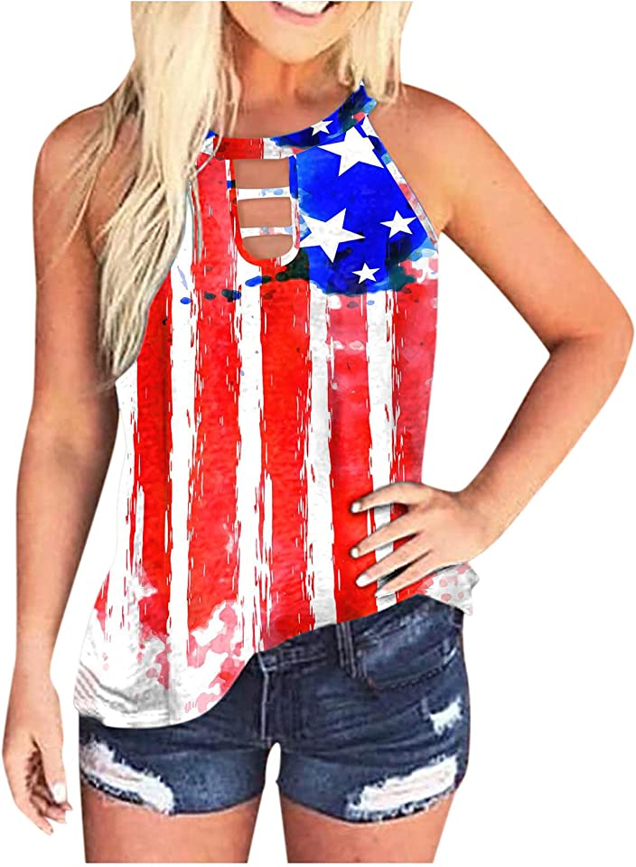 BOIYI Summer Tank Tops for Women, Casual Sleeveless USA Flag Printed Loose Fit Cut Out Tank Tees Shirts Blouses Tunics
