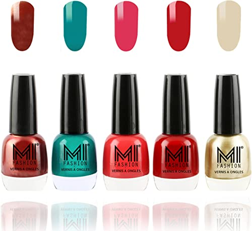 Mi Fashion Ultra Glam Pigmented Nail Polish Combo, Reddish Bronze, Sea Green, Carrot Red, Rouge Red and Creamy Golden, 60ml (5 Pieces) product image