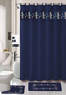 AHF/WPM Beverly Navy Flower 18-Piece Bathroom Set: 2-Rugs/mats, 1-Fabric Shower Curtain, 12-Fabric Covered Rings, 3-pc. Decorative Towel Set