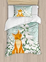 Ambesonne Fox Duvet Cover Set, Red Fox Sitting in Winter Forest Snow Covered Pine Trees Xmas Cartoon, Decorative 2 Piece Bedding Set with 1 Pillow Sham, Twin Size, Orange Green