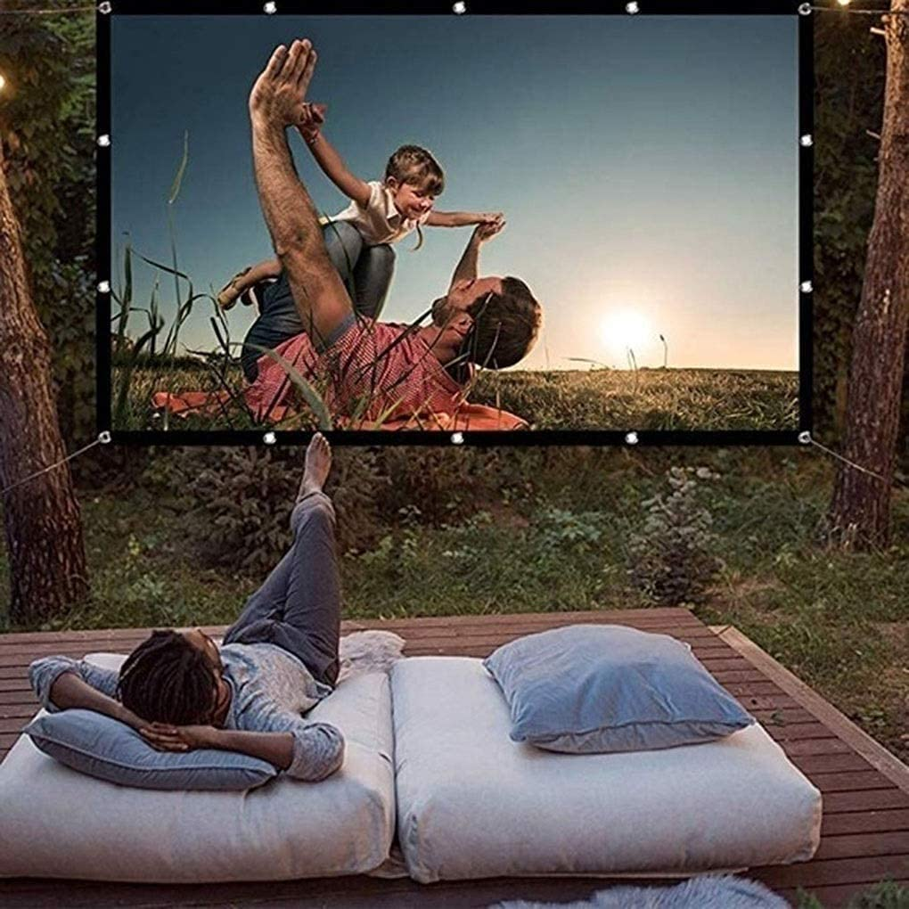 HGSDKECFS Portable Projection Screen Foldable 16:9 Projector 60 70 84 100 120 inch White Outdoor Projection Screen TV Home Projector Screen