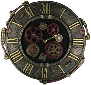 Resin Wall Clocks Steampunk Bronze Finish Rivet Plate Wall Clock With Moving Gears 14.5 X 14.5 X 1 Inches Bronze