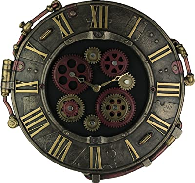 Steampunk Bronze Finish Octopus Porthole Wall Clock With Moving Gears