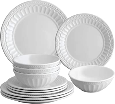 Gourmet Art 12-Piece Beaded Chateau Heavyweight and Durable Melamine Dinnerware Set, White, Service for 4. Includes Dinner Plates, Salad Plates and Bowls. for Indoors Outdoors Use and Everyday Use