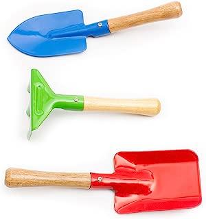 3-Piece - Mini Garden Tool Set for Kids & Toodlers - Rake, Shovel and Trowel