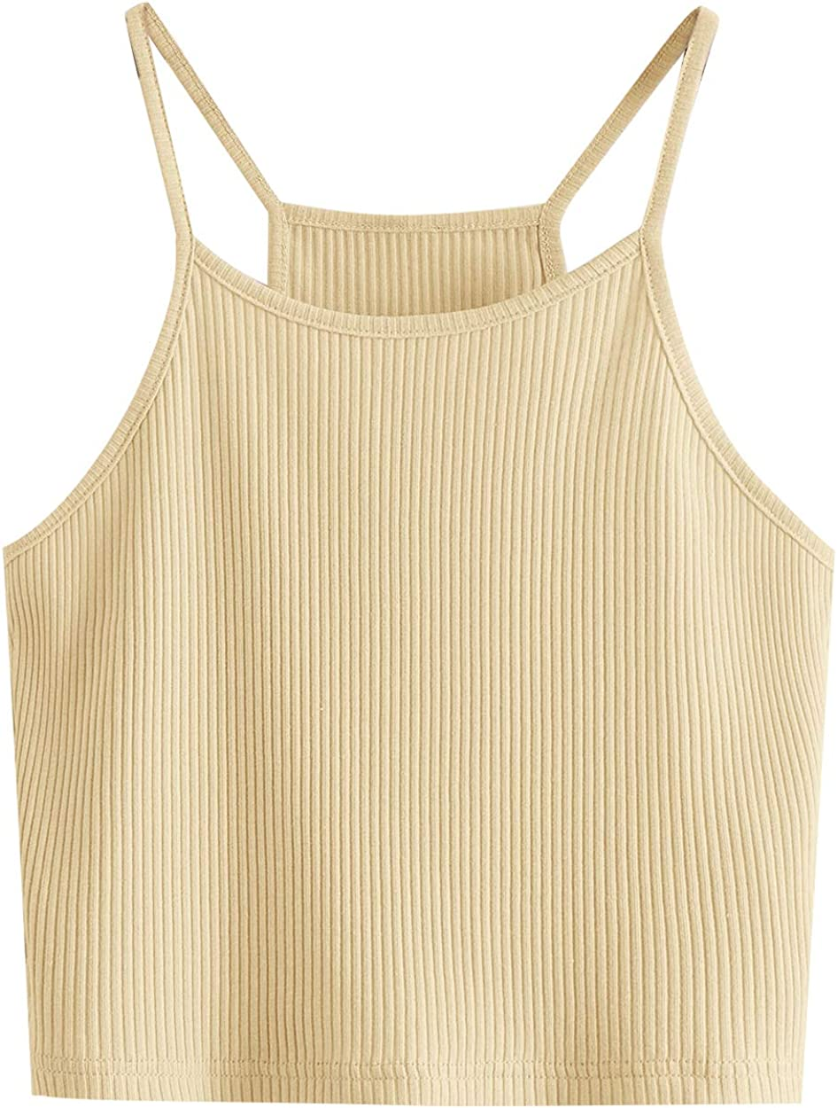 Romwe Women's Casual Summer Beach Strappy Sleeveless Ribbed Knit Cami Crop Top