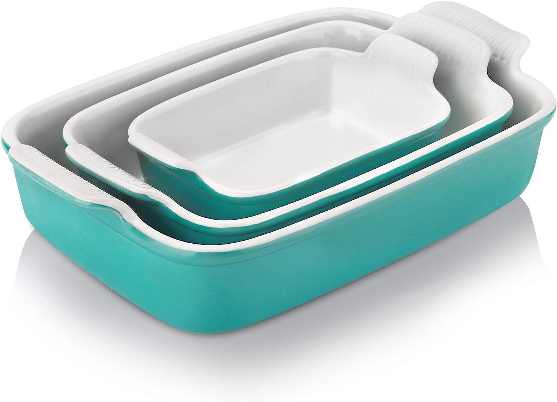 Nucookery Bombing new work Daily bargain sale Baking Dishes 3 Pack Ceramic Set Gla Bakeware