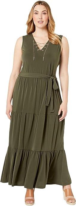 Plus Size Chain Lace-Up Maxi Dress