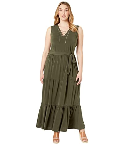 MICHAEL Michael Kors Plus Size Chain Lace-Up Maxi Dress (Ivy) Women