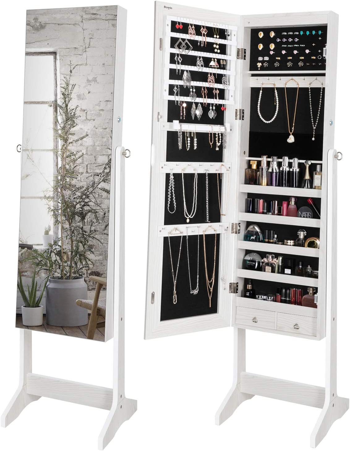 Bonnlo Upgraded Jewelry Armoire with Max 80% OFF LED Lockable Jewe 6 Lights Year-end annual account