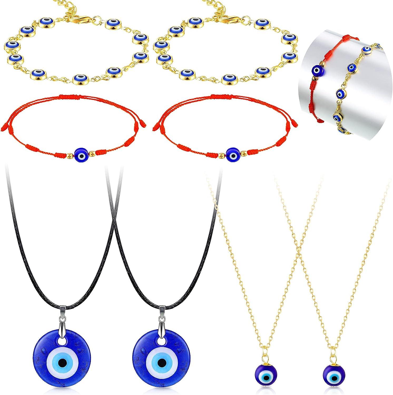8 Pieces Evil Eye Necklace Bracelet Set 4 Pieces Evil Eye Chain Necklace Turkish Blue Eye Necklace Blue Eye Necklace, 4 Pieces Evil Eye Bracelet Handmade Braided 7 Knots Evil Eye Bracelet for Women Men