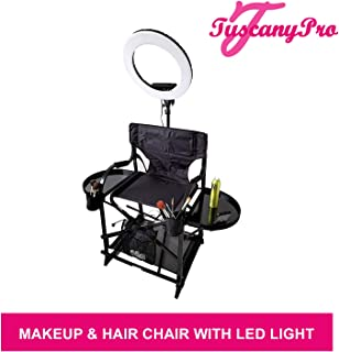 TuscanyPro Portable Makeup & Hair Chair with 14 Inch LED Ring Light - Perfect for Makeup, Hair Stylist, Salon with 29 Inch Seat Height - Carry Bag Included - USA Patented Design