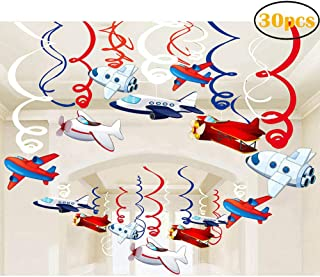 30Ct Airplanes Hanging Swirl Home Decorations for Airplane Themed Birthday Baby Shower Party Supplies