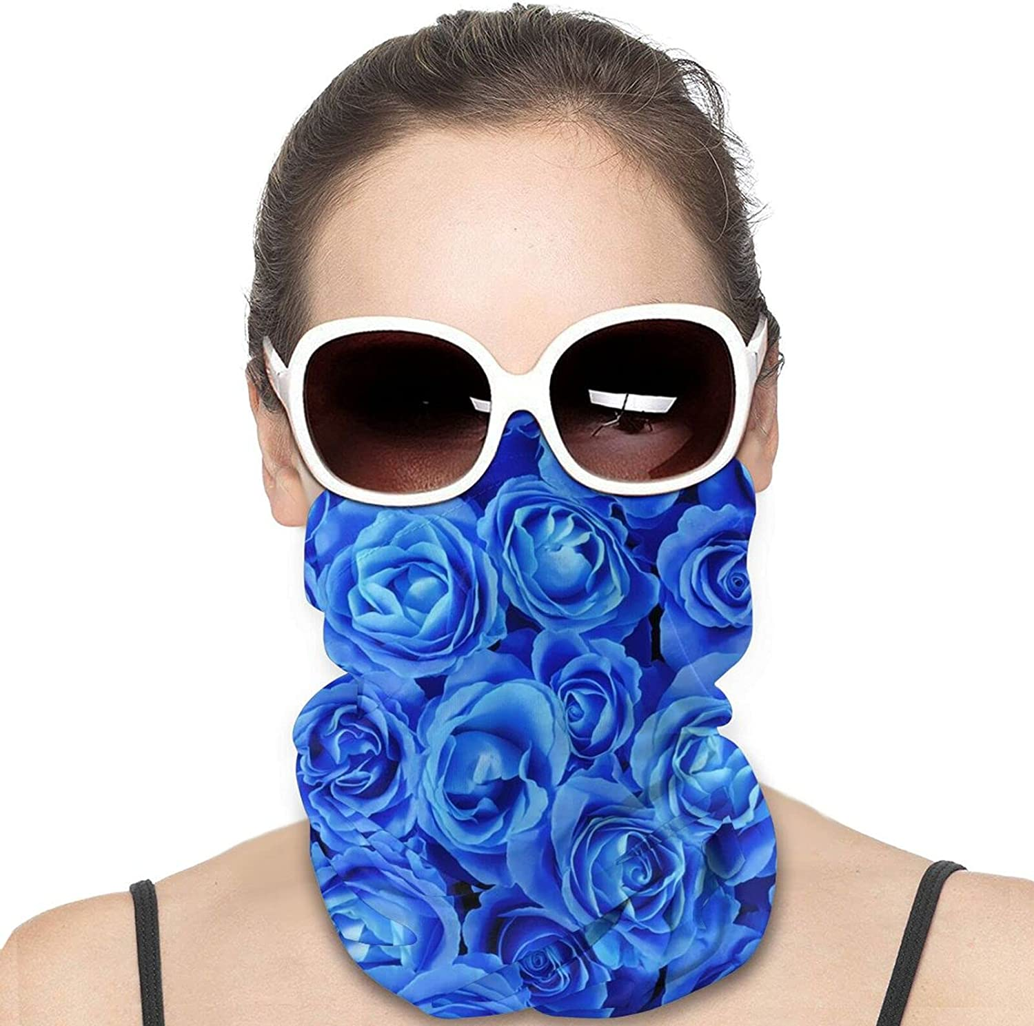 Rose Blue Round Neck Gaiter Bandnas Face Cover Uv Protection Prevent bask in Ice Scarf Headbands Perfect for Motorcycle Cycling Running Festival Raves Outdoors