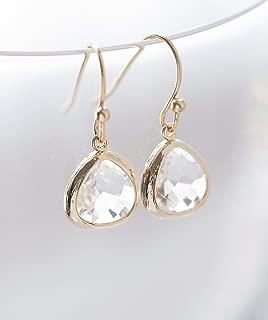 Clear Crystal Glass Drop Earrings