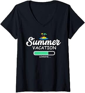 Womens Summer Vacation Loading Last Day of School Teacher V-Neck T-Shirt