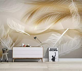 3D Wallpaper Photo Murals Roll Wall Papers Home Decor Paper Light and Extravagant Golden Feather Pattern Wallpapers for Living Room Walls 3D Picture,240Cm (H) X 320Cm (W)