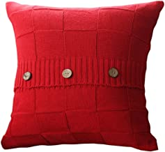 Goldy&Wendy Double Cable Knit Cushion Throw Pillow Cover For Home Decor Sofa Chair Bed 18 x 18,Cotton Warm & Super Soft,Red,1 Pack