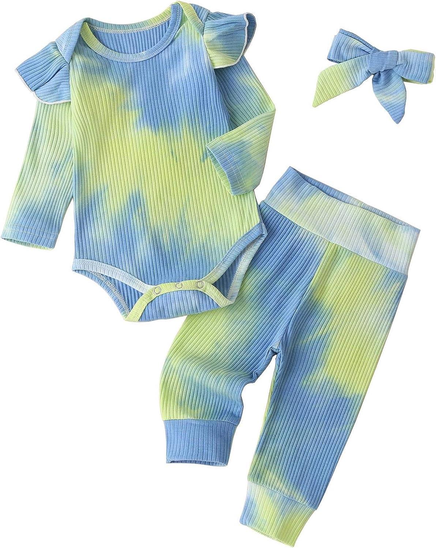 Toddler Baby Girls 2 Piece Crop Tops Tie-Dye Hoodies Kids Long Sleeve Pullover Sweatshirts
