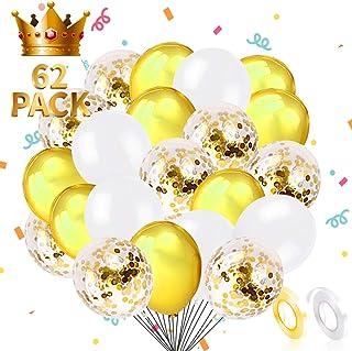 Joy Bang White and Gold Balloons Gold Confetti Balloons 60pcs Gold Latex Helium Balloon for Birthday Wedding Bridal Shower...