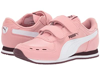 Puma Kids Cabana Racer SL Velcro (Little Kid) (Bridal Rose/PUMA White/Vineyard Wine) Girls Shoes
