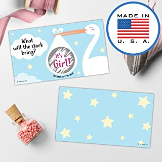321Done Gender Reveal Scratch Off Cards for Baby Announcement - Stork with Bundle Baby Shower, 3.5