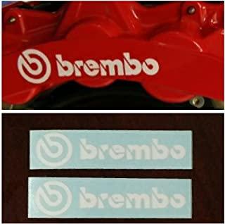 R&G Brembo HIGH TEMP Brake Caliper Decal Sticker Set of 2 Decals (White)
