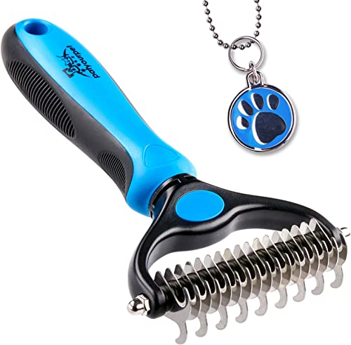 Pet Grooming Tool - 2 Sided Undercoat Rake for Cats & Dogs - Safe Dematting Comb for Easy Mats & Tangles Removing - N...