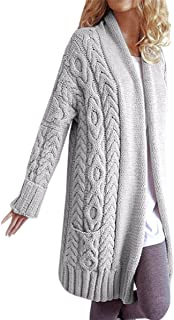 Fashare Womens Open Front Chunky Cable Knit Cardigan Sweaters Coat with Pockets