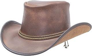 قبعة راعي البقر الجلدية رينو مع شريطين من الحبل من أميريكان هات ميكرز - مصنوعة يدوياً