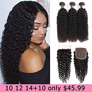 Aodai Hair Brazilian Virgin Curly Hair Weave 3 Bundles with Lace Closure Free Part 4x4 8A 100% Unprocessed Brazilian Kinky Curly Hair Weave Bundles Natural Color(10 12 14+10)