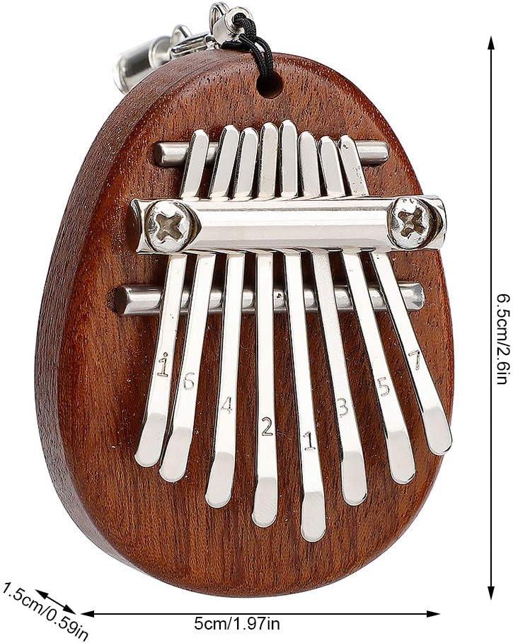 Guangcailun 8 cl/és Mini Kalimba Pouce Piano Mbira en Bois Massif Sansula Pouce Piano Sac /à Dos Pendentif D/écor Cadeau Jouet avec Longe Ellipse