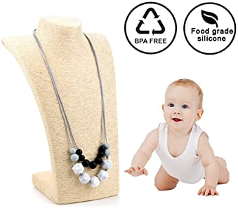 lofca Baby Teething Necklace for Mom to Wear-Great Teether Toy -Food Grade Silicone,Anti Flammatory-100% BPA Free-'Cl...
