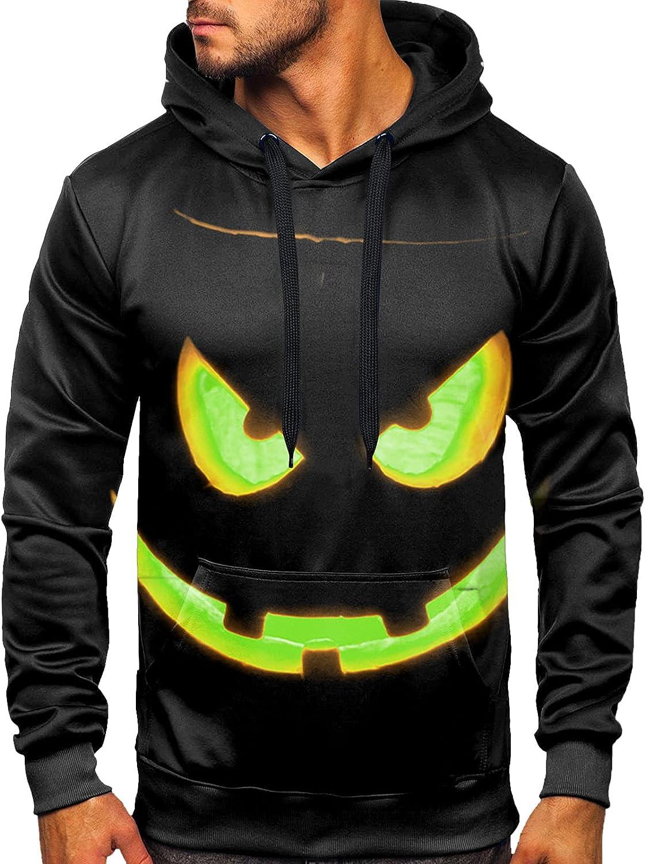 HONGJ Hoodies for Mens, 3D Halloween Pumpkin Jack-o-Lantern Skull Printed Drawstring Pullover Fashion Hooded Sweatshirts