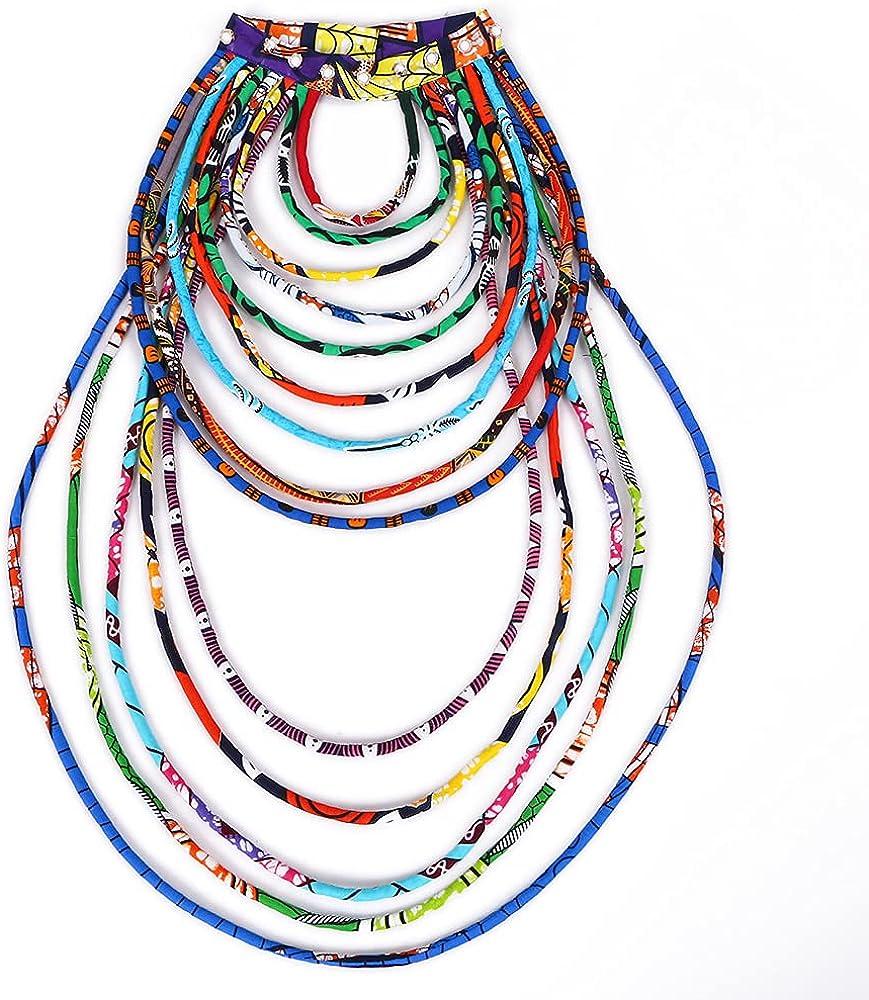 iooiooi Women's Handmade Necklaces Ankara Kente Necklace Long Multi Strand African Wax Collar