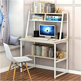 Computer Desk +3 Shelves Study Home Office Study Laptop Table MDF Chipboard & Steel Wood & Metal Desk & Bookcase Shelf (Co...