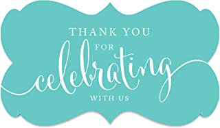 Andaz Press Fancy Frame Rectangular Label Stickers, Thank You for Celebrating with Us, Diamond Blue, 36-Pack