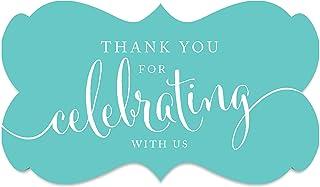 ملصقات ملصقات ملصقات ملصقات بعلامة مستطيلة الشكل عليها عبارة Thank You for Celebrating with Us من Andaz Pres، لون أزرق ماس...
