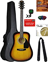Fender Squier Dreadnought Acoustic Guitar - Sunburst Bundle with Gig Bag, Tuner, Strap, Strings, Picks, Instructional Book, and Austin Bazaar Instructional DVD