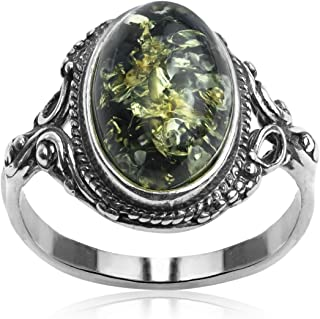 Sterling Silver Dark Green Amber Oval Ring