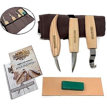 HOLZWURM Holz Schnitzmesser-Set inkl. Tasche, Anleitung und Vorlagen, ideales Schnitzwerkzeug-Set zum Löffel schnitzen