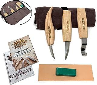 Holzwurm - Juego de cuchillos de tallar (madera, incluye funda, instrucciones y plantillas, ideal para tallar cuchara