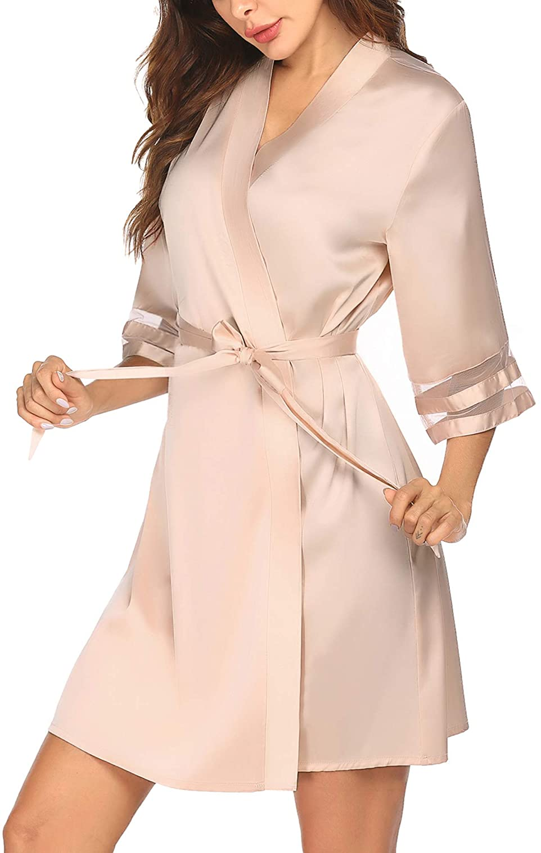 Ekouaer Womens Satin Robe Lightweight Kimono Bathrobe 3/4 Bell Sleeve Bridesmaid Bride Party Robes S-XXL