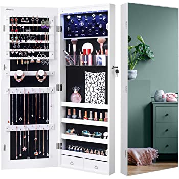 Nicetree 8 LED Mirror Jewelry Cabinet, Jewelry Armoire Organizer with Full Screen Mirror, Wall/Door Mounted, Full Length Mirror, White