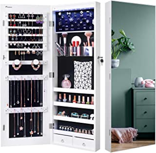 Sponsored Ad - Nicetree 8 LED Mirror Jewelry Cabinet, Jewelry Armoire Organizer with Full Screen Mirror, Wall/Door Mounted...