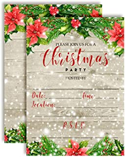 Winter Snow with Red Poinsettias Christmas Holiday Party Invitations, 20 5