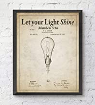 Let your Light Shine, Matthew 5:16 Bible Verse Patent Art Print, Unframed, Vintage Thomas Edison Light Bulb Patent, Christian Wall Art Decor Poster Sign, All Sizes