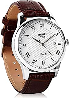 Analog Quartz Wrist Watch for Men 30M Water Resistant Casual Watch with Adjustable Leather Band Brown